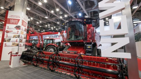 case ih combine at trade show