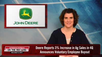 Deere Reports 3% Increase in Ag Sales in 4Q, Announces Voluntary Employee Buyout