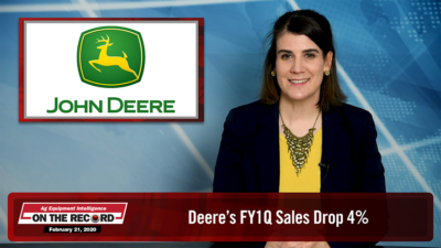[On The Record] Deere's FY1Q Sales Drop 4%